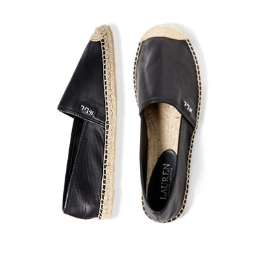 Pair of black leather espadrilles