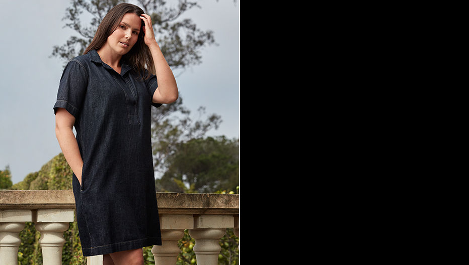 Woman models shirtdress with pockets