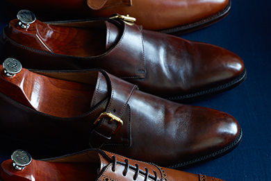 Rich brown calfskin cap-toe shoe