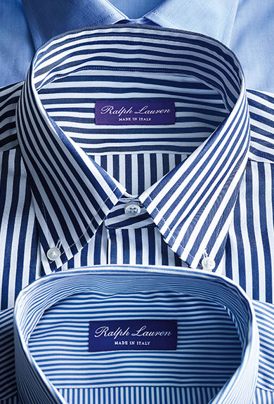 Folded blue-and-white striped button-downs