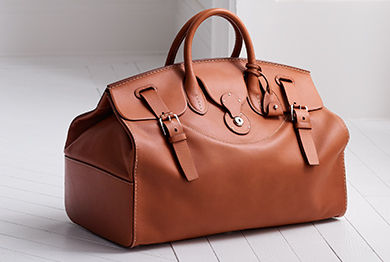 Tan calfskin Cooper bag with two top handles