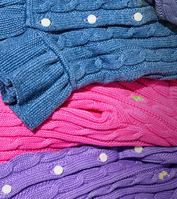 Blue, pink & purple peplum cardigans with contrasting Polo Pony at chest