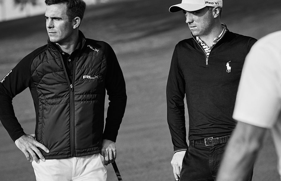 Pro golfers stand on course in RLX and Polo activewear