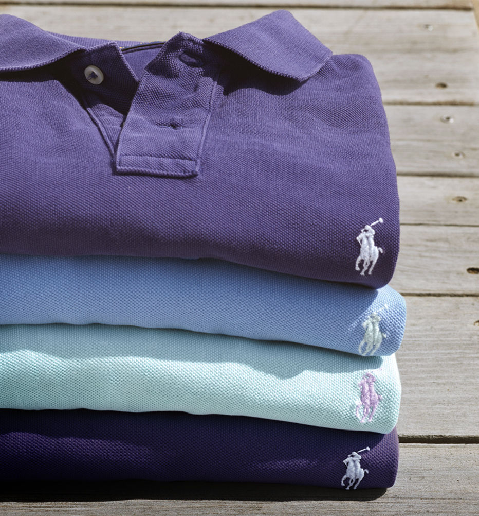 Stack of folded Polo shirts.