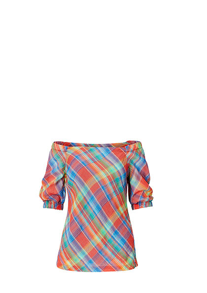 Rainbow-hued off-the-shoulder plaid top