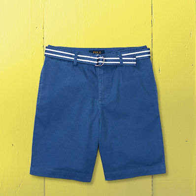 Pair of blue chino shorts with blue-and-white striped belt.