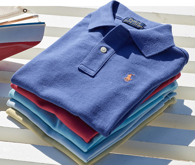 Stack of neatly folded Polo shirts.