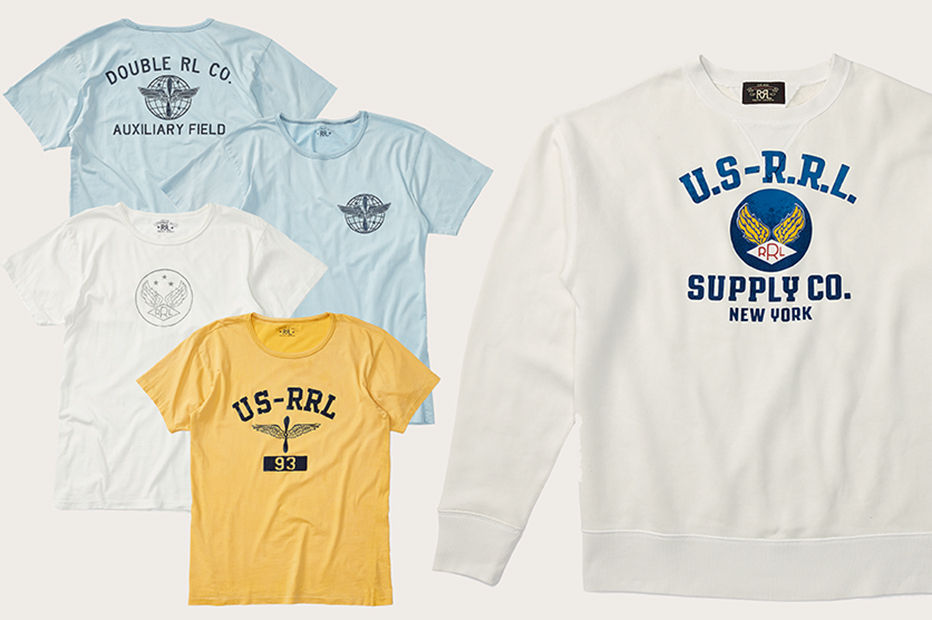 Light blue, white & yellow tees accented with Double RL graphics. White sweatshirt with blue lettering & winged Double RL graphic at front