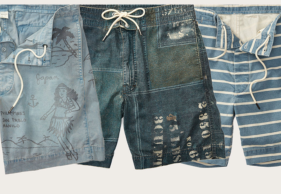Row of drawstring chambray & denim shorts