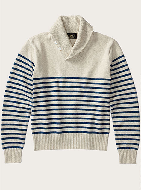 Collared cream sweater with navy stripes at arms & torso