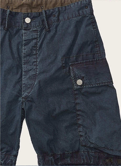 Close-up image of navy cargo shorts