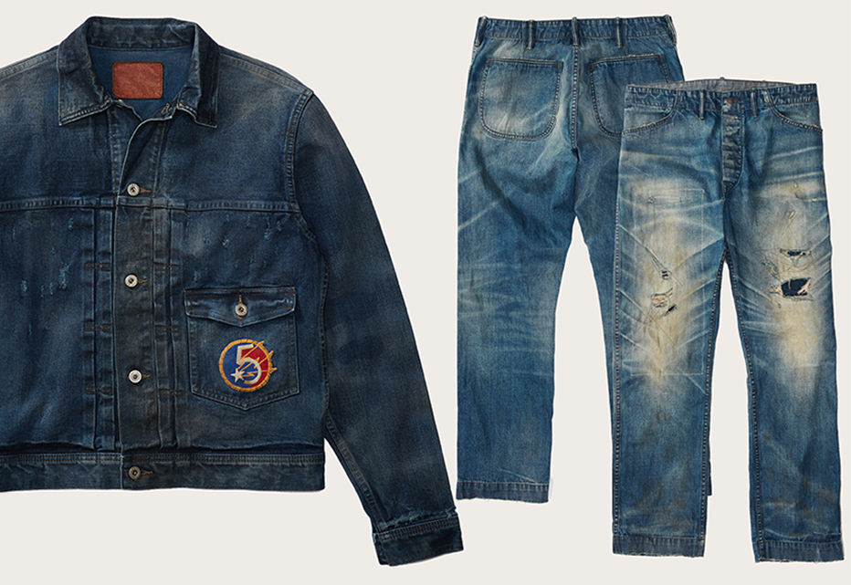Faded denim jacket with 5 & star patch at patch pocket.  Distressed & faded jeans