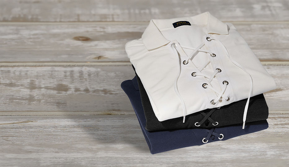 Lace-up boyfriend Polo shirts in white, navy & black