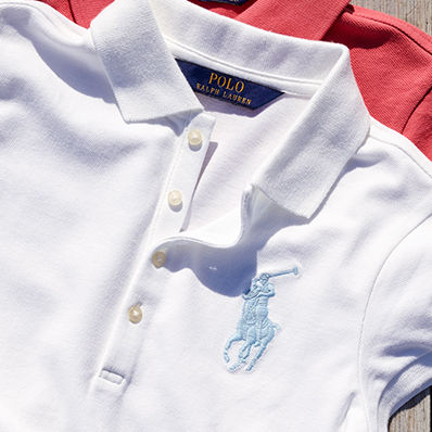 White Polo shirt with light blue Big Pony embroidered at the chest.