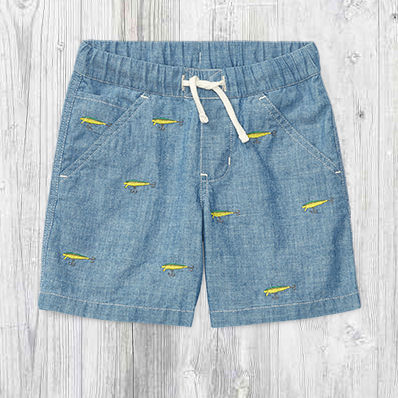 Pair of chambray shorts with embroidered fishing lures.