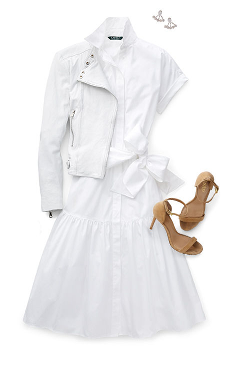 White moto jacket styled with shirtdress & tan suede stiletto sandals