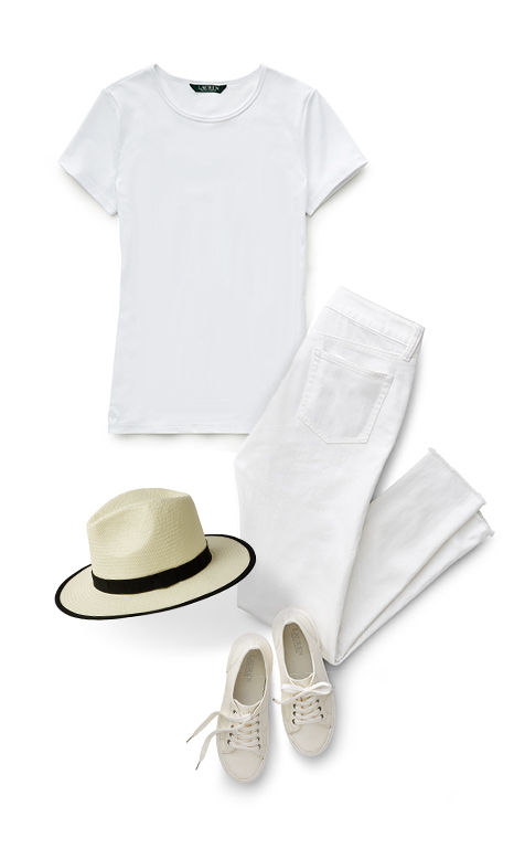 White T-shirt, brimmed straw hat, lace-up sneakers & jeans