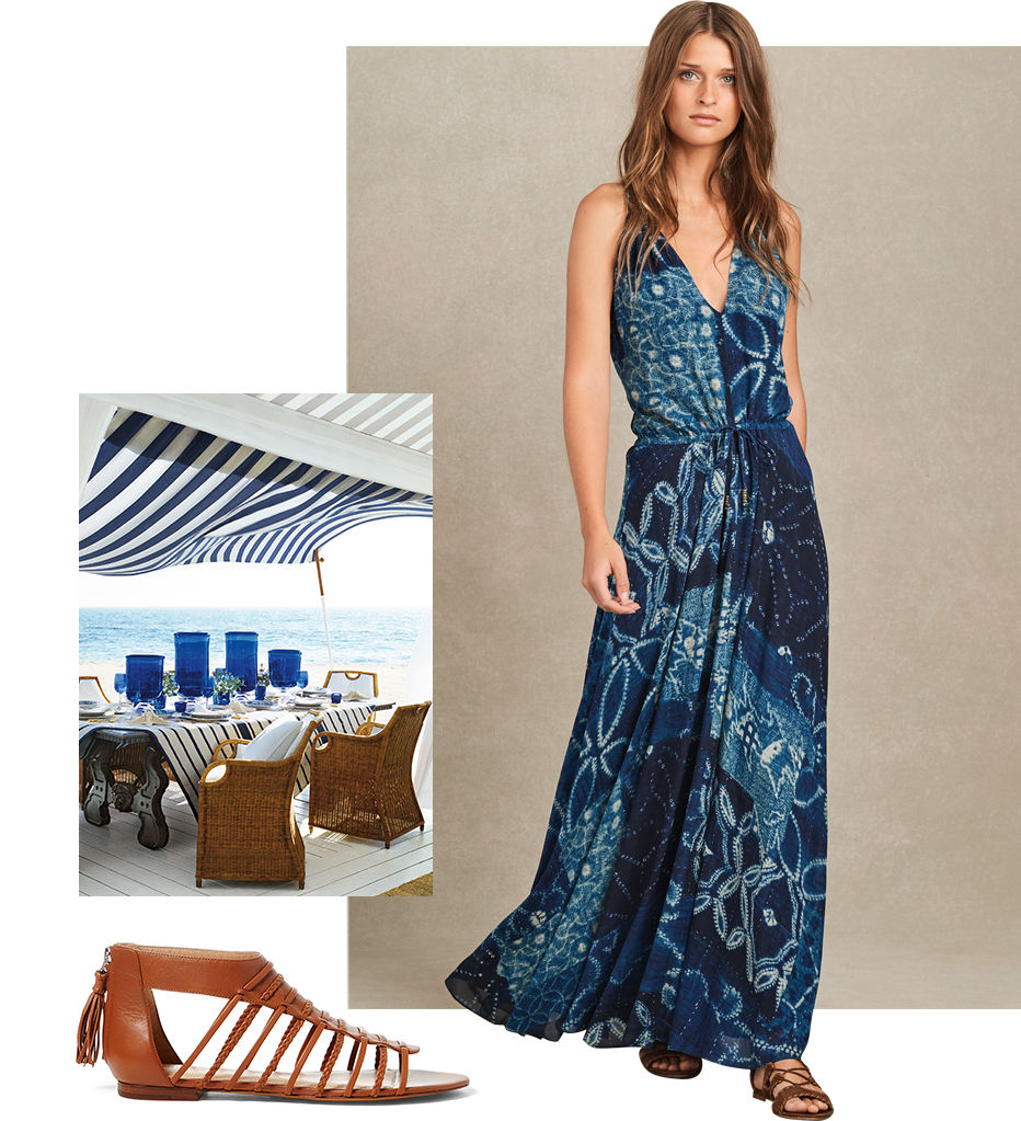 Woman models boho-chic blue shibori-print sleeveless maxidress