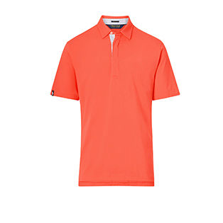 Lightweight coral Polo shirt with concealed buttoned placket