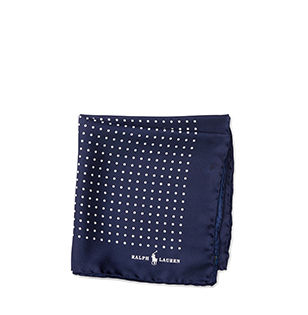 Navy polka-dot pocket square