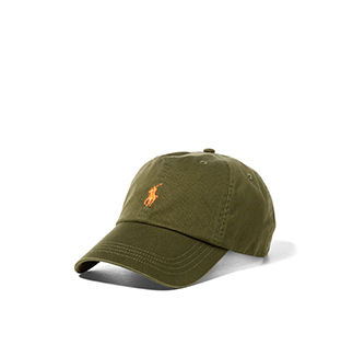 Olive baseball cap with orange Polo Pony logo at front
