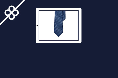 Image of silk tie shown on tablet computer