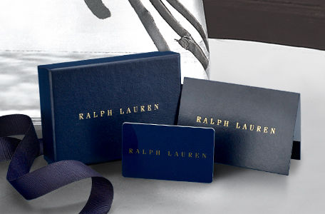 Navy gift card next to Ralph Lauren–embossed matching gift box