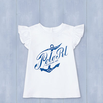 "Flutter-sleeve tee with an anchor and ""Polo RL"" printed at chest."