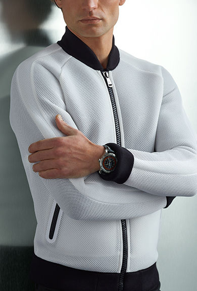 White mesh bomber jacket with contrasting collar, cuffs & hem