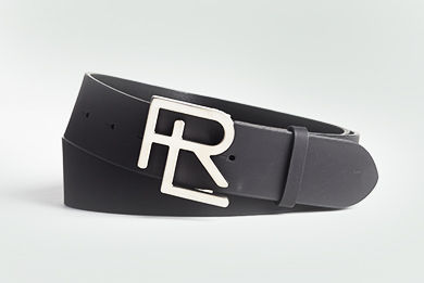Black leather belt with silver RL buckle