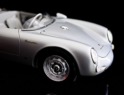 Close-up image of silver model car