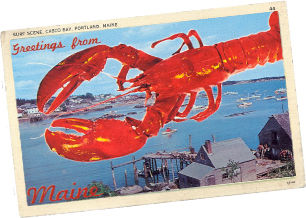 Retro postcard with image of large lobster over Maine coastal scene