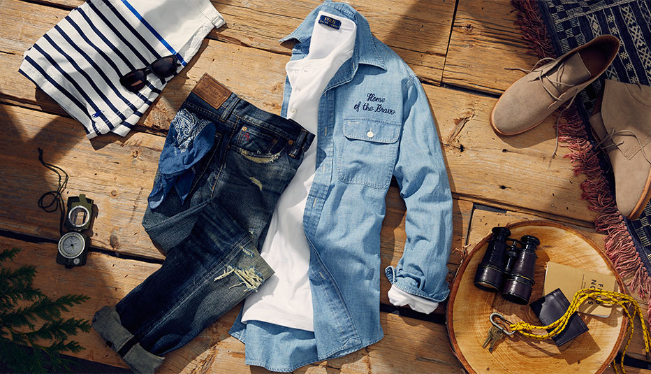 Chambray button-down, distressed jeans & more Main essentials