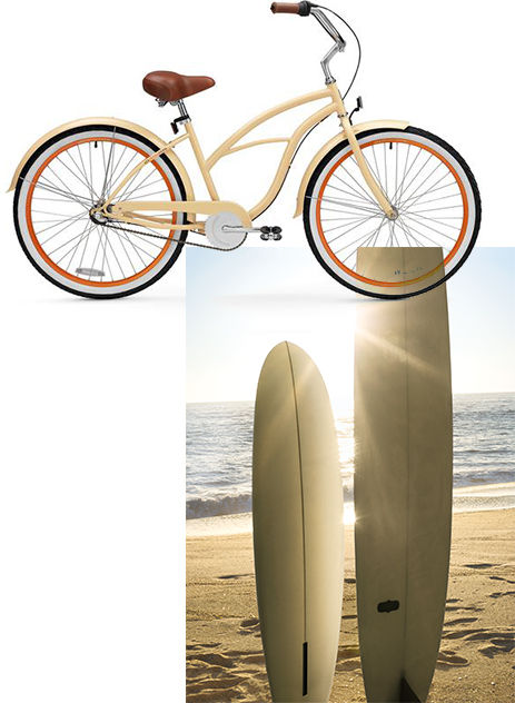 Image of retro bicycle and Image of upright surfboards in sand on sunny beach