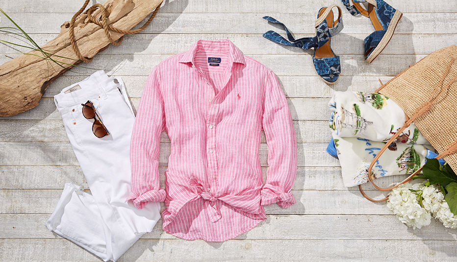 Pink striped linen shirt, blue canvas espadrilles & more Montauk essentials
