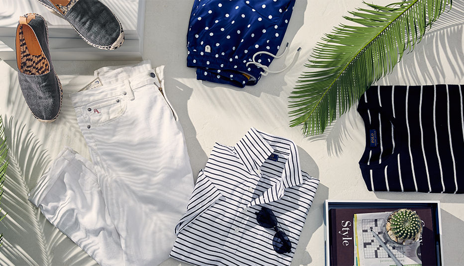 Navy drawstring swim trunks, grey canvas espadrilles & more Palm Spring essentials