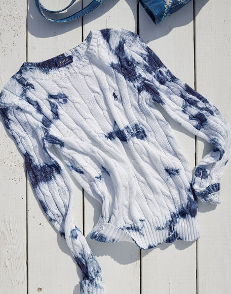 Tie-dyed white cable-knit sweater
