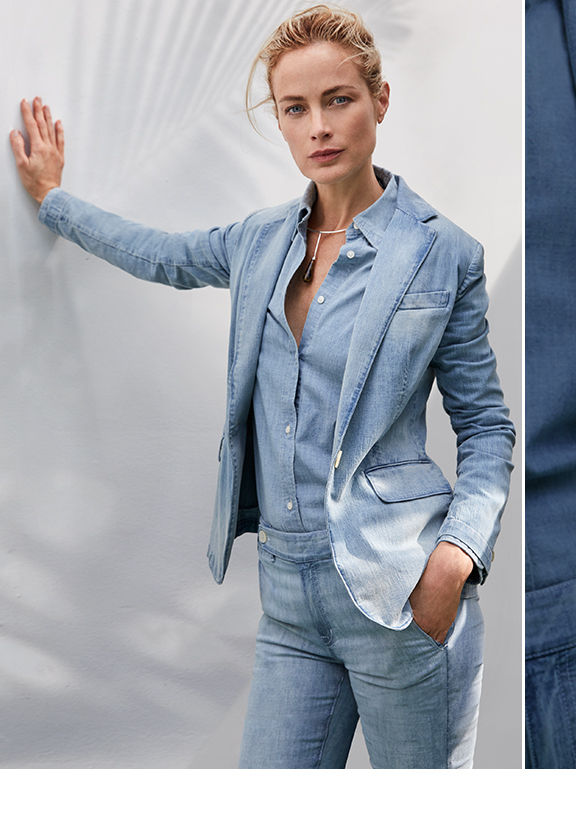 Woman wears single-button denim blazer with chambray shirt & jeans