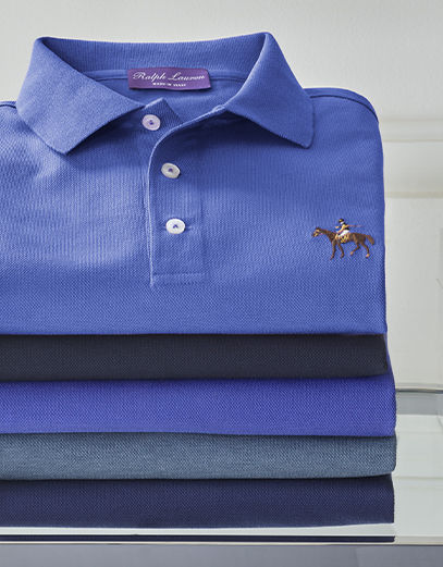 Stack of blue-hued Polo shirts with signature Purple Label pony