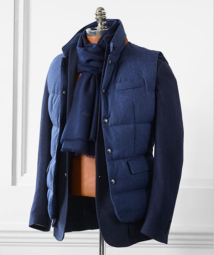 Quilted navy down vest & cashmere navy scarf