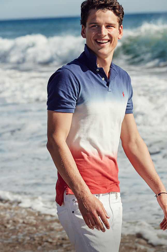 Dip-dyed red, white & blue Polo shirt