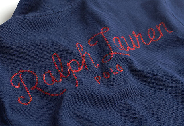 Navy Polo shirt with embroidered script 'Ralph Lauren' at back