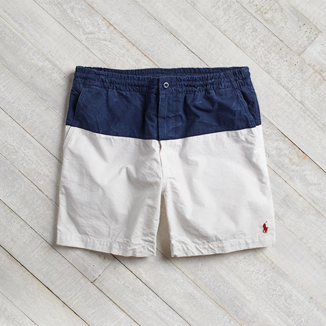 Navy & white color-blocked swim trunks