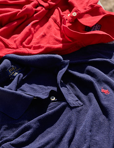 Image of red and navy Polo shirts