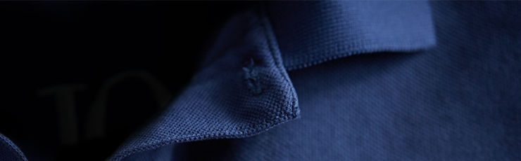 Detail shot of deep blue Polo shirt