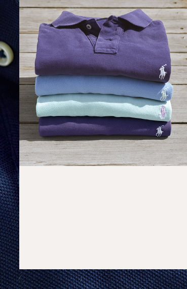 Stack of neatly folded Polo shirts in shades of blue