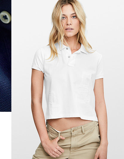 Woman models cropped white Polo shirt