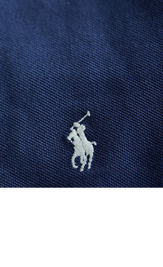 Close-up image of rich blue Polo shirt