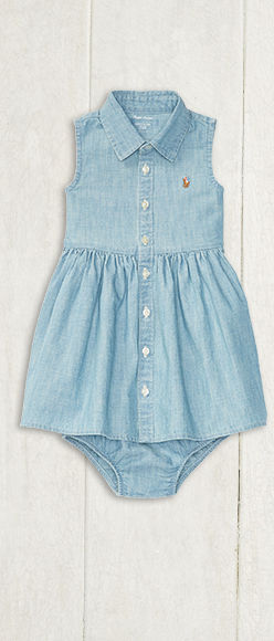 Chambray shirtdress and bloomer with signature embroidered pony at chest.