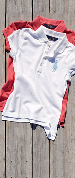 White and red Polo shirts with signature embroidered Big Pony at chest.